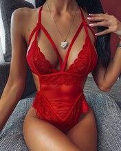 Frauen Teddy Heißer Erotische Kleid Sexy V-ausschnitt Unterwäsche Transparente Spitze Mesh Sheer Lenceria Sex Babydoll Kostüme Bodys