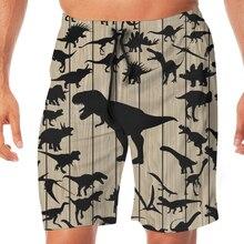 Estampado de dinosaurio para hombre negro traje de baño de los hombres pantalones cortos de playa deportes Shorts trajes de Surf nadar bañadores abrigos