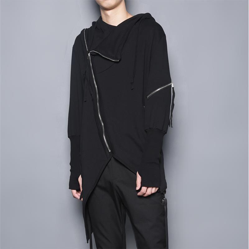 الرجال خندق معطف الربيع والخريف الظلام مقنعين البلوز قطري سستة تصميم غير متناظرة خياطة معطف الموضة