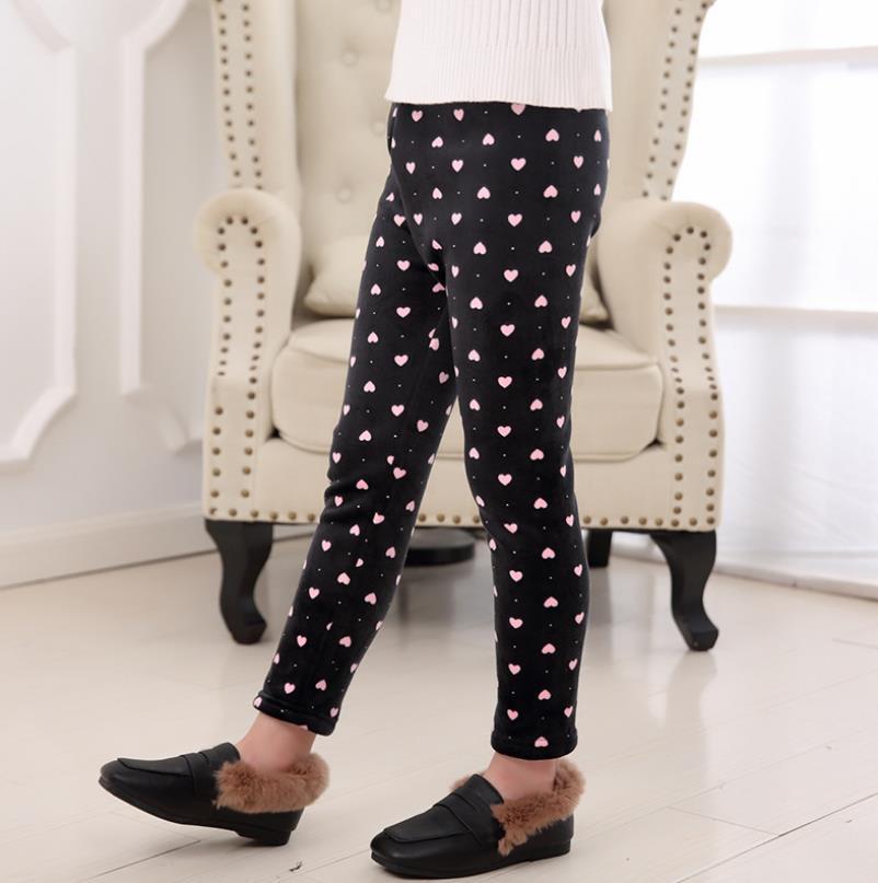 Girls Children Velvet Long Pants Printing Patterns Leggings Child Stripe Thicken Warm Winter Kids Clothing 3-10y Pencil Mid