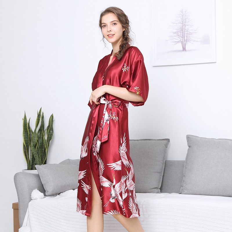 2021 Spring and Summer New Women's Nightgown Long Ice Silk Dressing Gown Casual Home Wear Sexy Bath Robe Sleep Tops Sleepwear