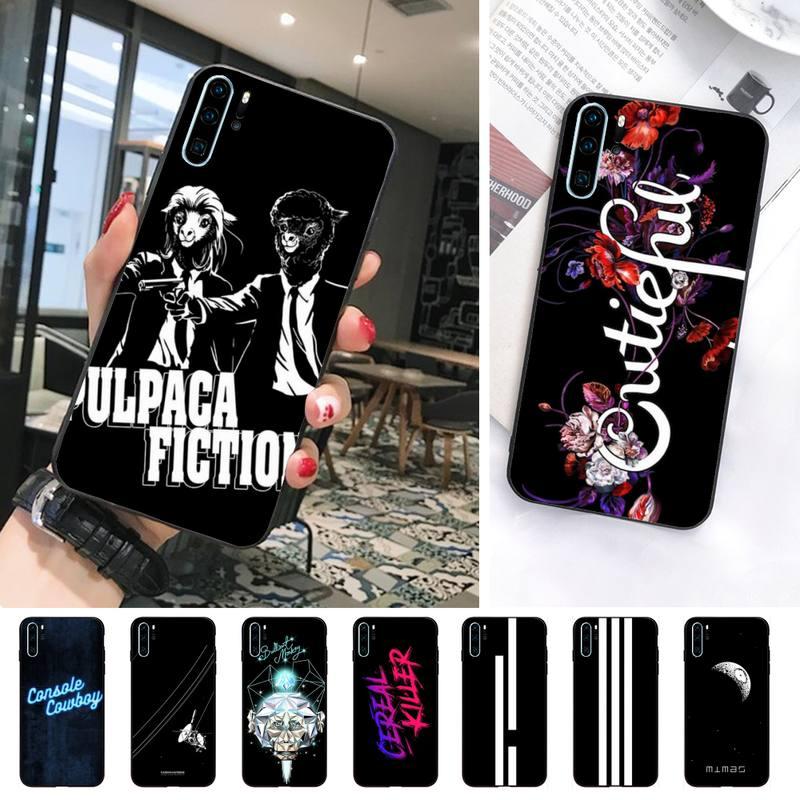 Schöne Schwarz Buchstaben Telefon Fall Für Huawei Y5 Y6 Y7 Y9 Ehre 8X 10 20 View10 View20 Fall Telefon