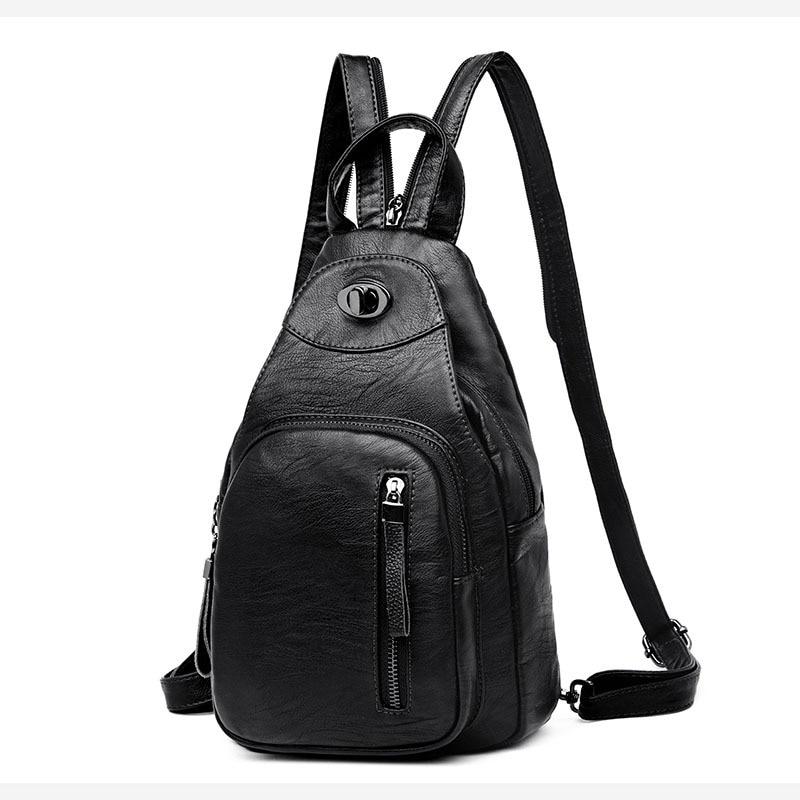 Mochila pequeña de mujer 2019 nueva tendencia de moda PU de cuero suave Casual mochilas bolsa de pecho para escuela adolescentes niñas de alta calidad