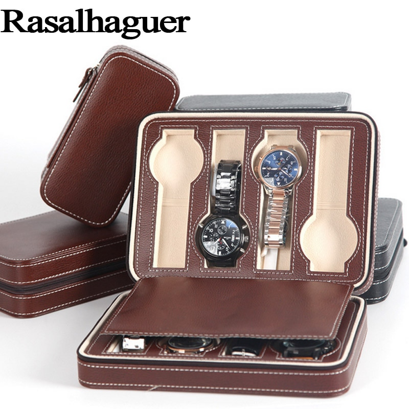 Fashion Hot Sale 8 Grids Leather Watch Box Luxury Zipper style for travelling storage Jewelry Watch Collect Cases  Organizer Box