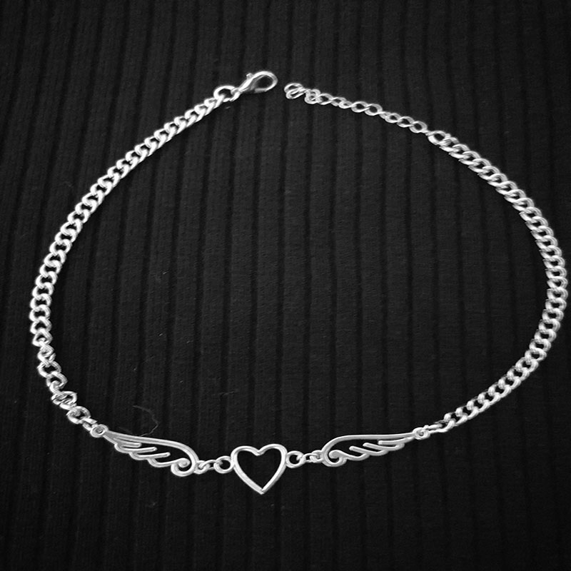 Punk Hollow Out Heart Feather Metal Choker Necklace For Women Girl Hip Hop Harajuku Angel Pendant Necklace Trendy Jewelry New