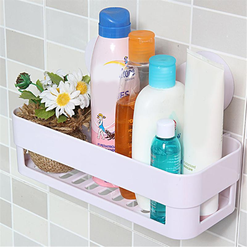 Bathroom Shelf Wall Rack With 2 Suckers Plastic Shower Caddy Organizer Holder Tray Bathroom Storage Rack Plastic Shampoo Holder