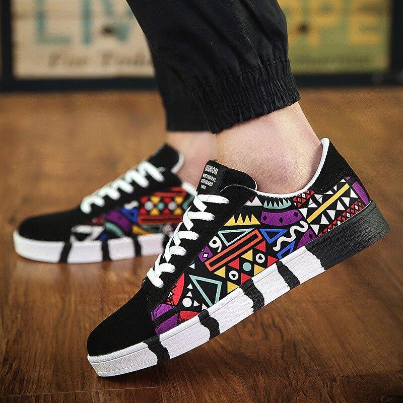 MJ граффити Мужская обувь зимняя новая Вулканизированная обувь повседневная парусиновая спортивная обувь с принтом Студенческая обувь для бега теннисные мужские