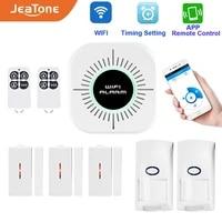 JeaTone     systeme dalarme de securite domestique sans fil  wi-fi  controle avec application  anglais  Android  IOS  capteur PIR  detecteur de porte fenetre