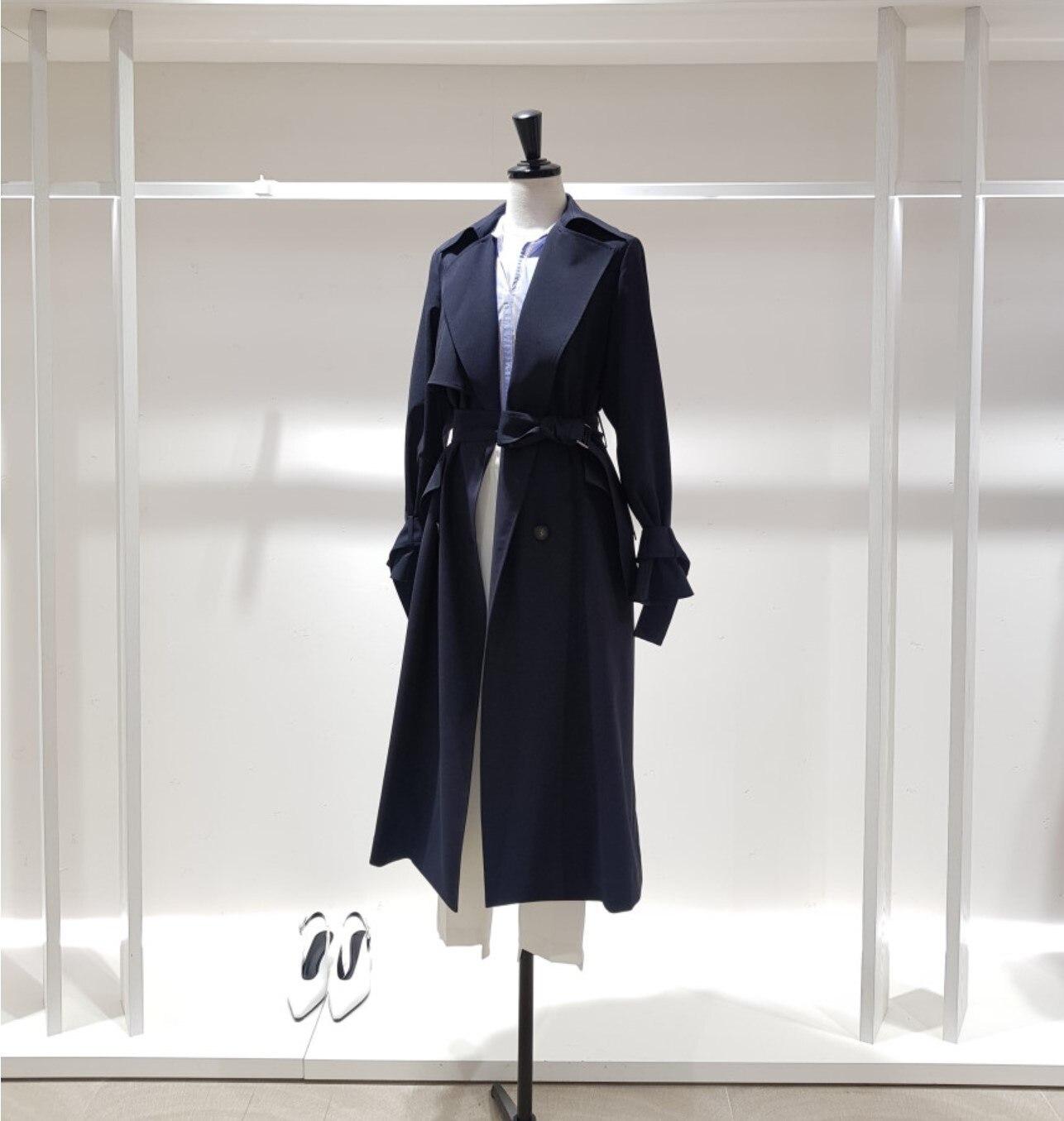 الراقية 2021 الخريف موضة جديدة الاتجاه فضفاض مزاجه شيك النسخة الكورية طويلة الخصر ضئيلة سترة واقية معطف المرأة
