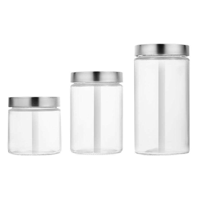 3 قطعة حاويات تخزين زجاجية شفافة مع غطاء من الفولاذ المقاوم للصدأ (شفاف)