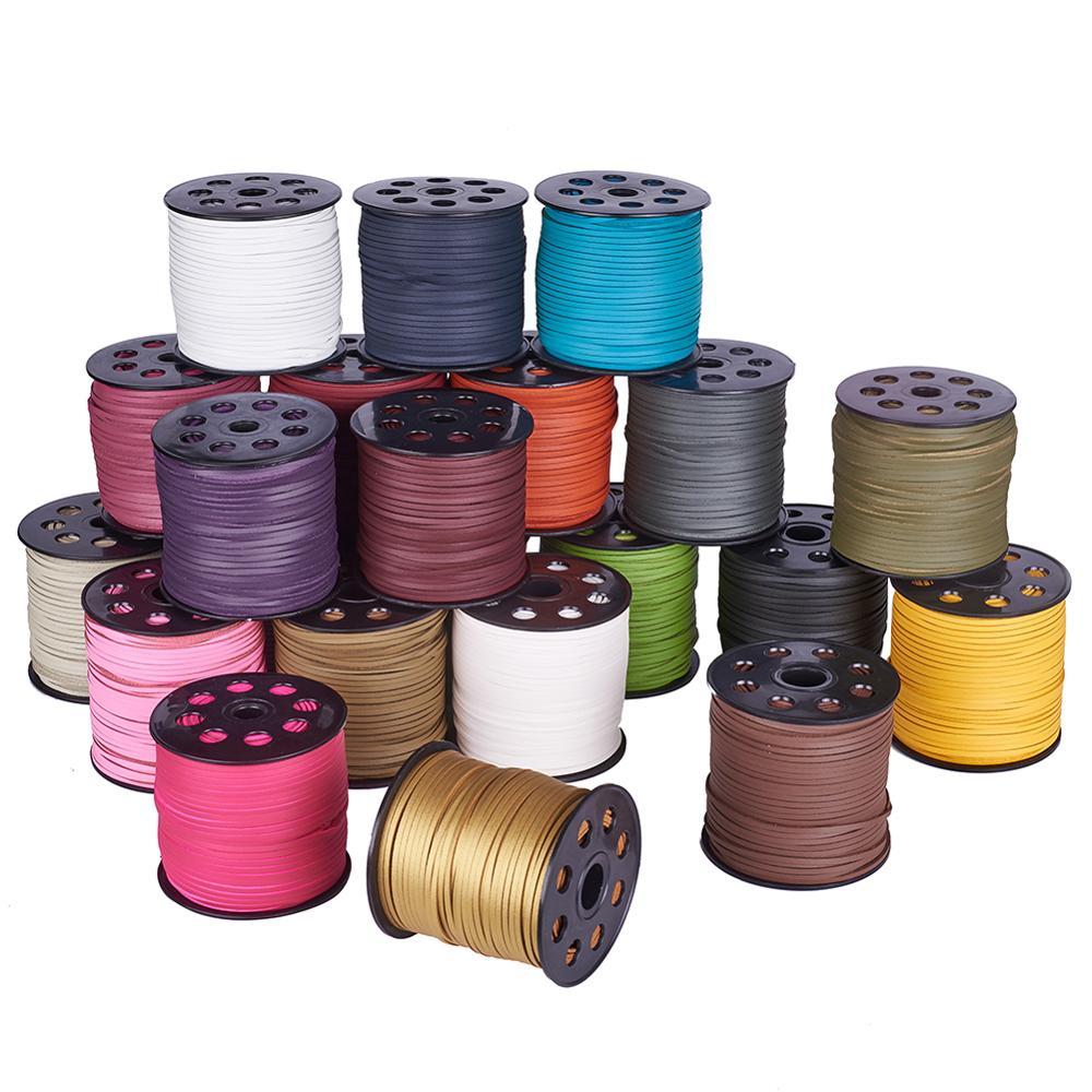 90m/rollo 2,7x1,4mm Faux Cordón de encaje de gamuza, una cubierta lateral con cordón de piel sintética para fabricación de joyería diy pulsera collar