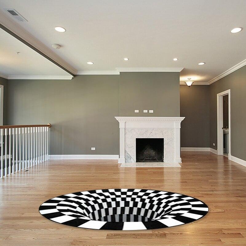 Nova mandala tapete 3d tridimensional preto & branco estéreo visão tapete sala de estar capacho mesa de chá sofá ilusão tapete