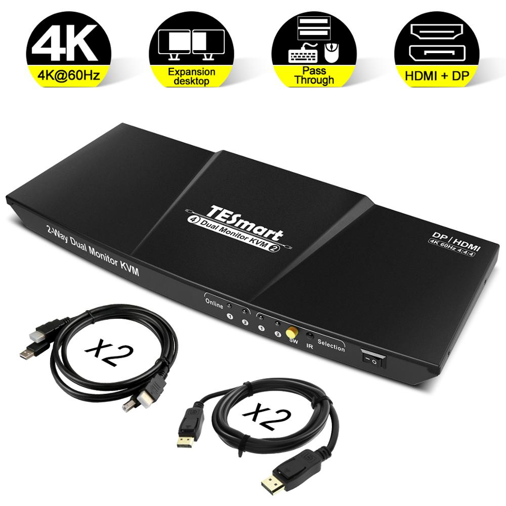 DisplayPort KVM Switcher Support UHD 4K@60Hz USB 2.0 Devices Control up to 2 Computers with (DP+HDMI+USB) In