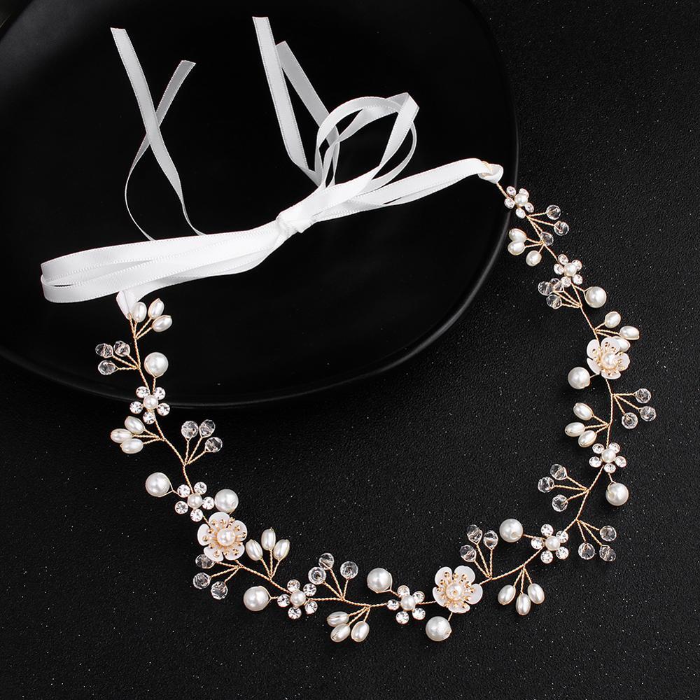 Venda quente barato artesanal headbands pérolas cristal tiaras feminino hairband ouro casamento nupcial acessórios de cabelo pageants atacado
