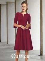 a line mother of the bride dress elegant jewel neck knee length chiffon half sleeve with pleats 2021