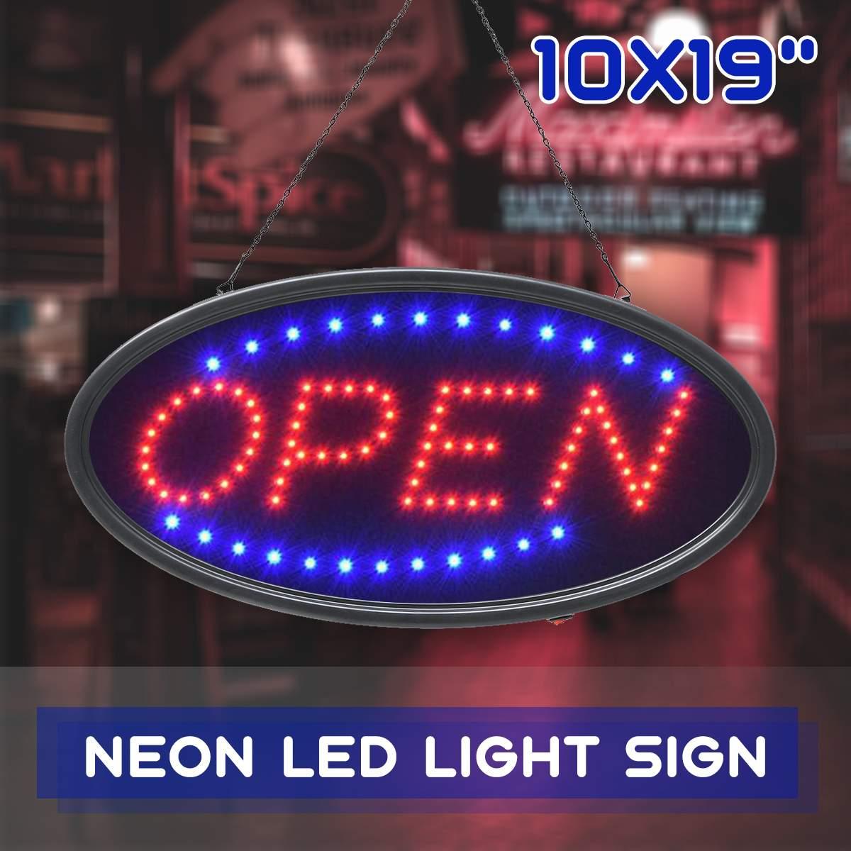 لوحة إعلانات LED مع شعار علامة مفتوحة ، مركز تسوق ، حركة متحركة ساطعة ، نيون ، متجر أعمال ، قابس الاتحاد الأوروبي والولايات المتحدة