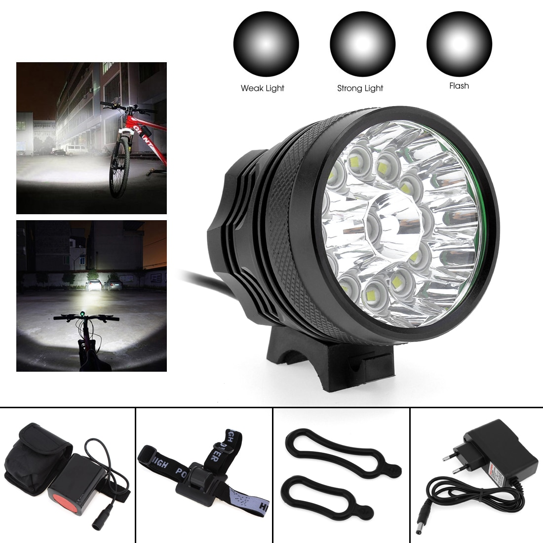 SecurityIng  Bicycle Headlights XM-L T6 LED Bike  Lamp Cycling Torch 6500LM with 8.4V 6400mAh Battery Bicycle Lights