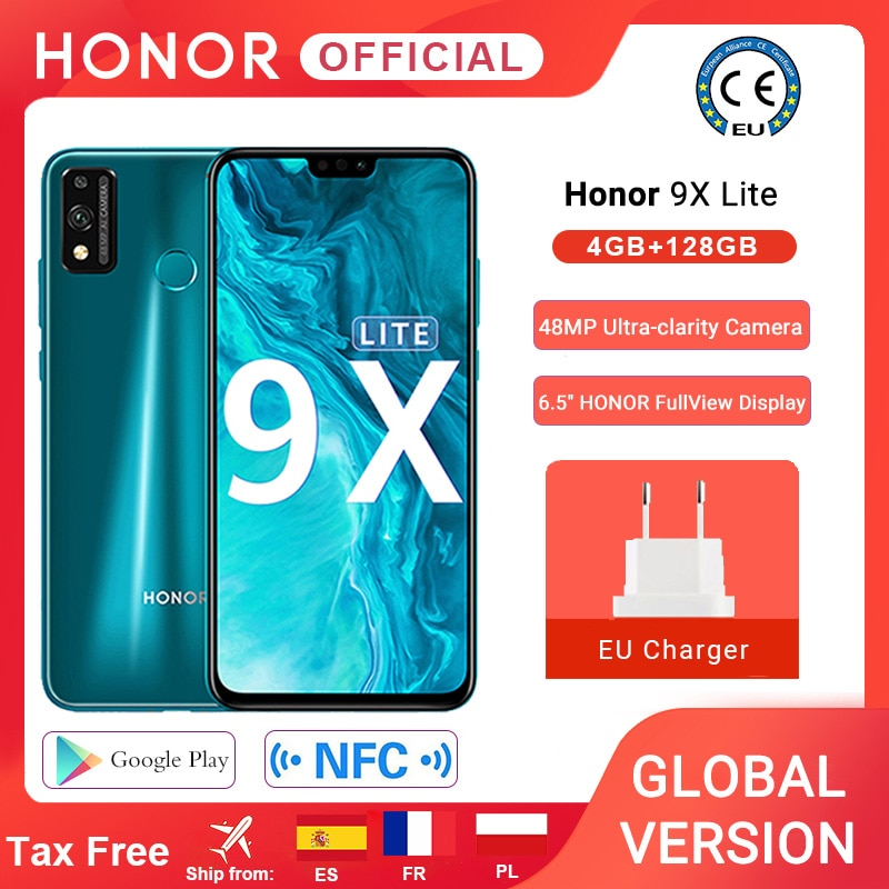 Перейти на Алиэкспресс и купить Глобальная версия Honor 9X Lite смартфон 4G 128G 48MP камера Kirin 710 6,5 ''мобильный телефон Android P GPU Turbo 3,0 NFC