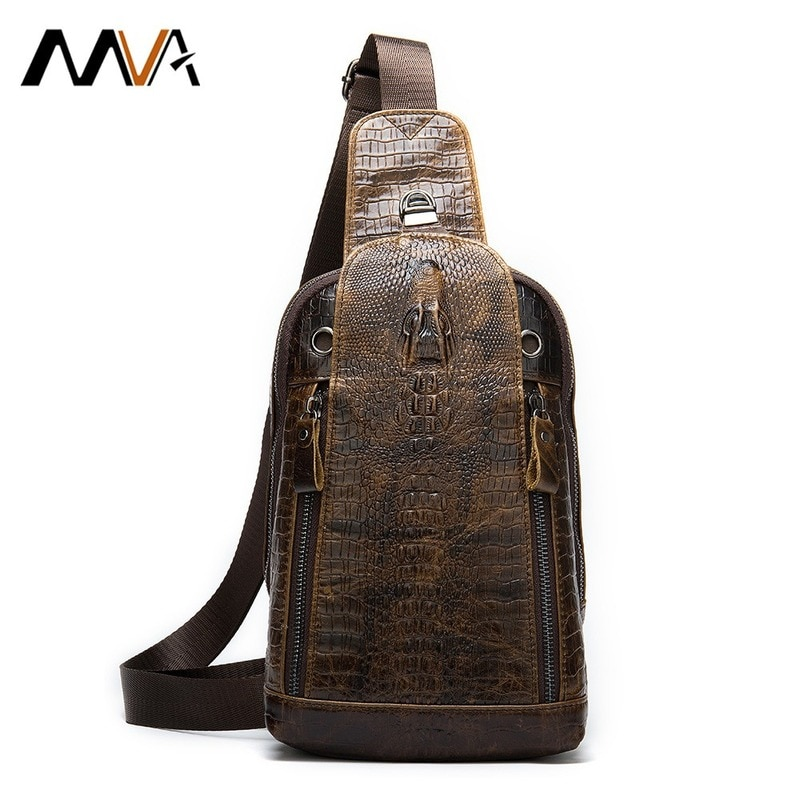 MVA Alligator Bag Men's Genuine Leather Shoulder Crossbody Bags For Men Chest Bag Crocodile Pattern Sling Bags Male Chest Pack