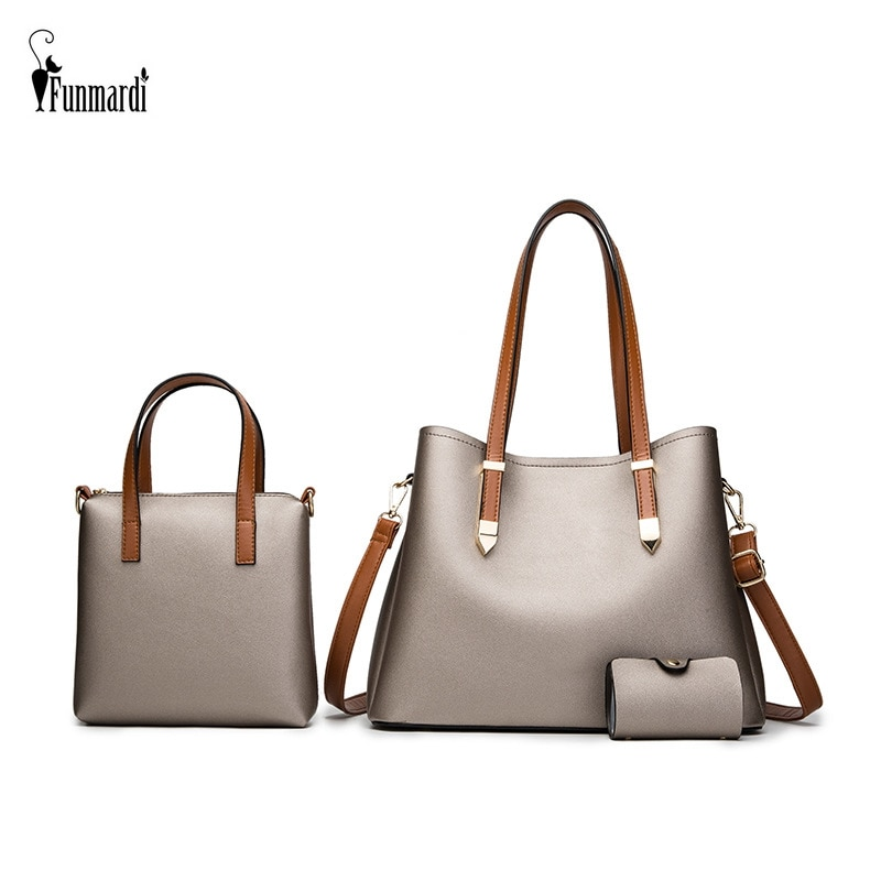 FUNMARDI Luxury 3 Set Bag PU Leather Handbag Purses Brand Design Shoulder Bags For Women 2021 New Hand Bag Female Totes WLHB3038