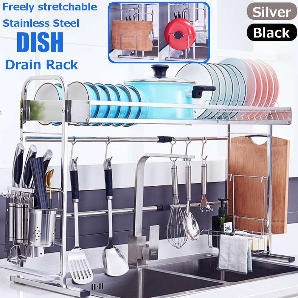 Cozinha de Aço Pratos de Lavagem Inoxidável Prateleira Prato Rack Superior Pauzinhos Colher Coleção Knief Drenagem Água Pia