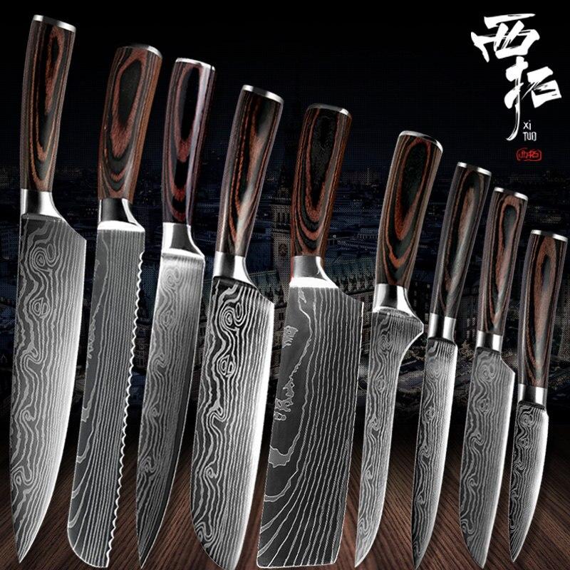 XITUO, cuchillo de cocina japonés chino de frutas en rodajas con Eviscerate para pan de Chef, santoku, utensilio de cocina con diseño completo de Damasco