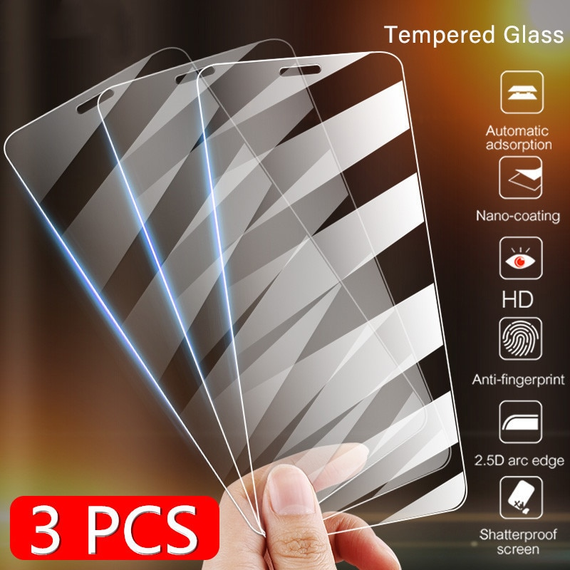 3 protectores de pantalla de vidrio templado para iPhone 11 Pro X XR XS Max Film para 7 8 6 Plus 5 5s SE 2020 Glass