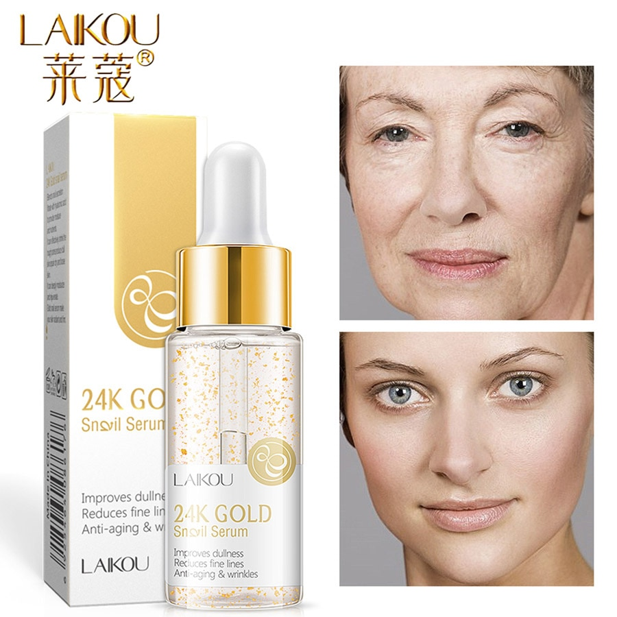LAIKOU 15ml 24k Gold Serum Vitamin c Facial Serum Essence Hyaluronic Acid Cream Anti Wrinkle Whitening Face Care Essence Skin laikou hyaluronic acid face serum moisturizing shrink pores whitening brightening tighten facial essence liquidskin care 15ml