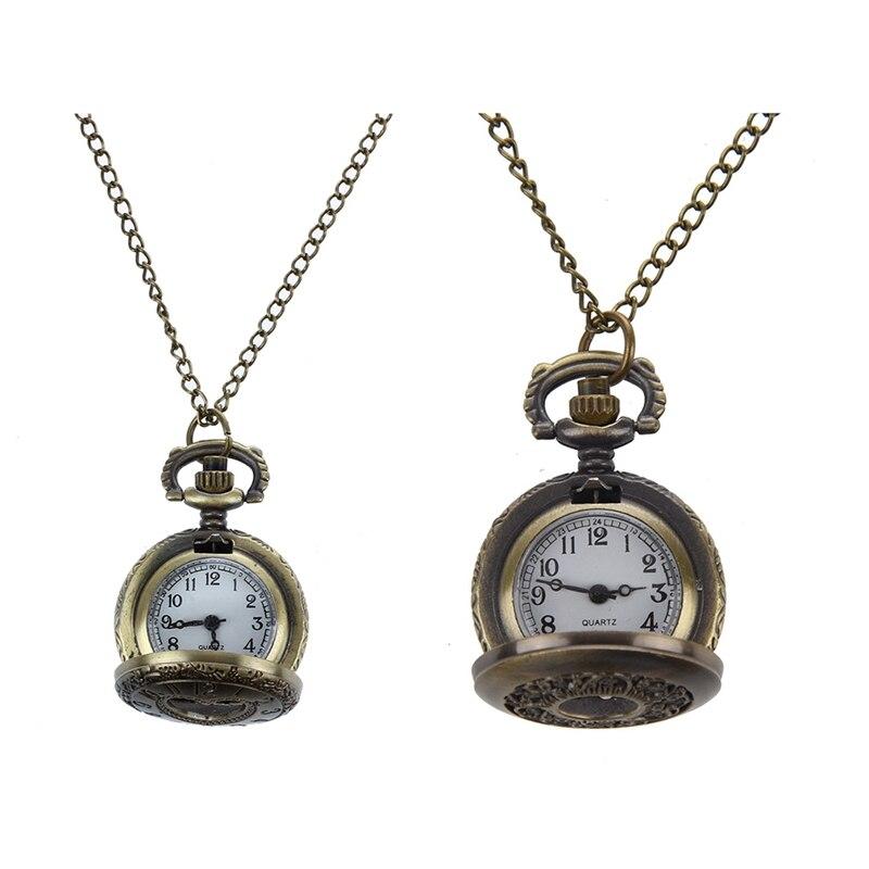 1 Uds caso Hunter collar reloj de bolsillo de bronce y 1 Uds corte corazón caso Hunter collar reloj de bolsillo de bronce