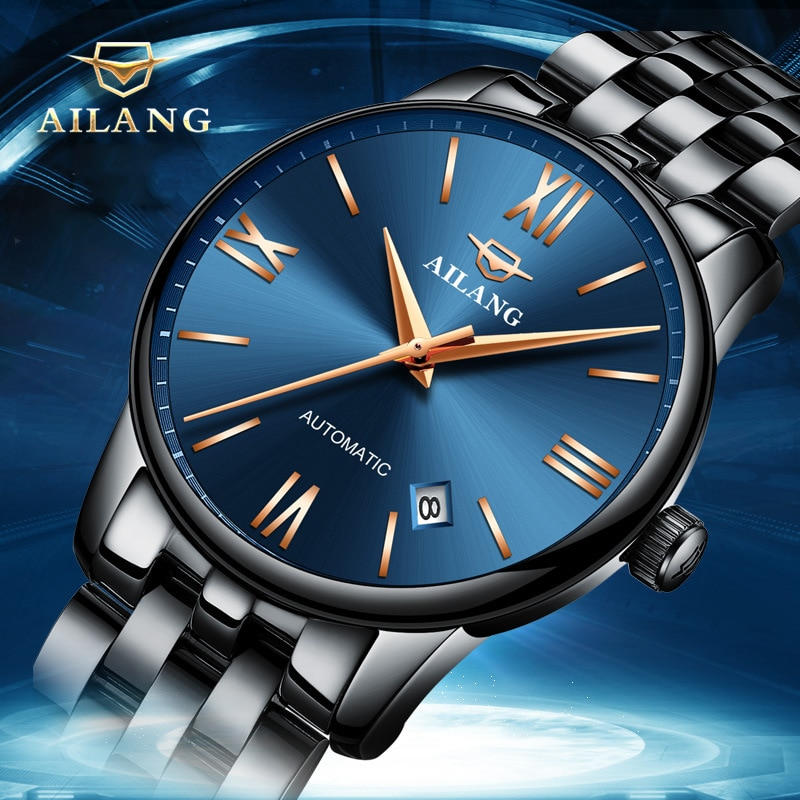 AILANG New Men's Business Watch Luminous Waterproof Luxury Automatic Stainless Steel Mechanical Strap Round Disc Watches 2603