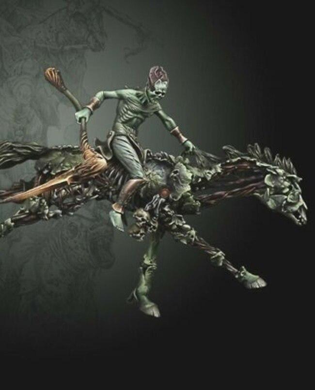 Escala de 1/32 sin pintar resina jinetes del Apocalipsis, la muerte figura de colección