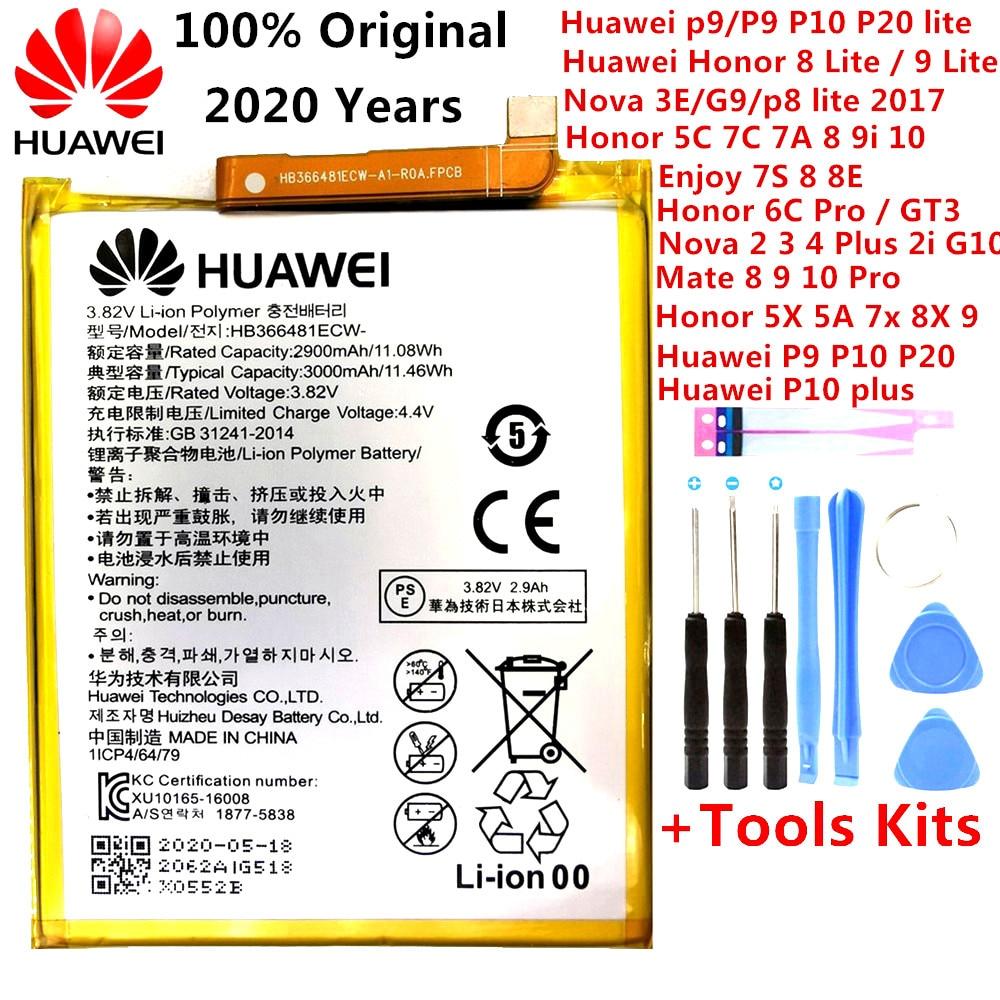 Orginal Huawei Ascend P9 P10 P20 Lite Ehre 5C 5A 5X 6A 7X G7 8 8X 8C G9 9 9i 10 G10 Mate 8 9 10 Nova 2 2i 3 4 Plus Pro Batterie
