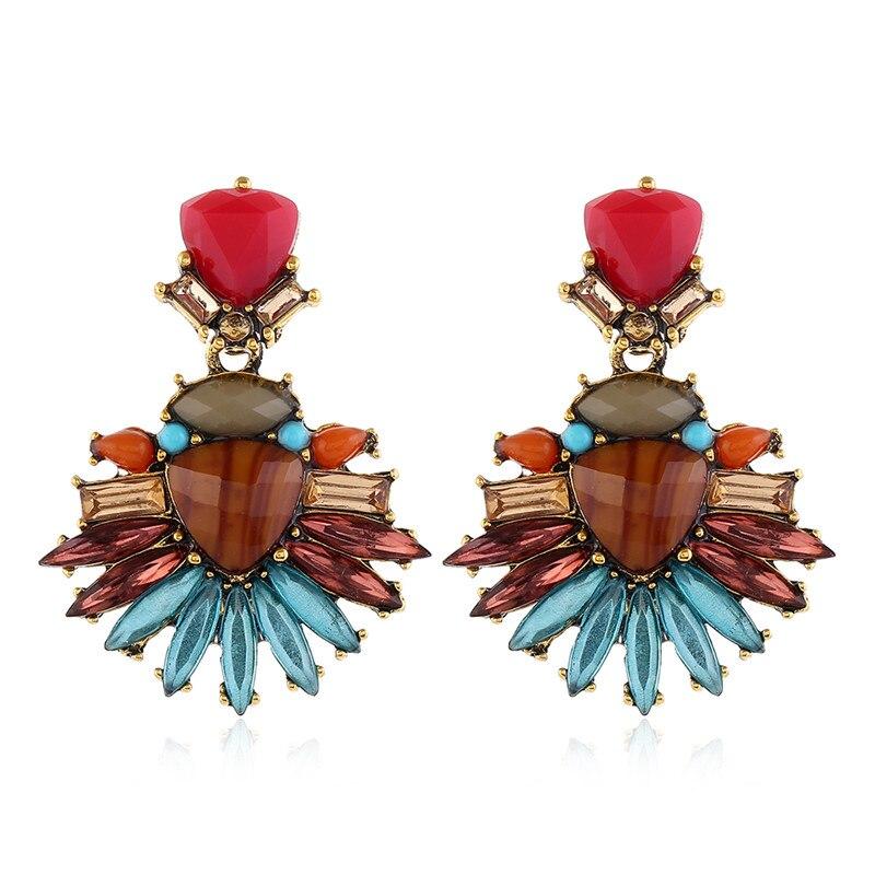 FASHIONSNOOPS nuevo Vintage hecho a mano encanto gran cristal colgante pendientes llamativos Maxi joyería de moda Boho Bijoux 2020