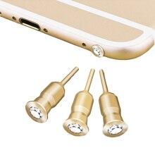 Catxaa Hoofdtelefoon Poort Stof Plug Diamant Mobiel Oortelefoon 3.5 Mm Jack Stopper Metal Headset Cover Voor Tablet Pc MP3 MP4 speaker