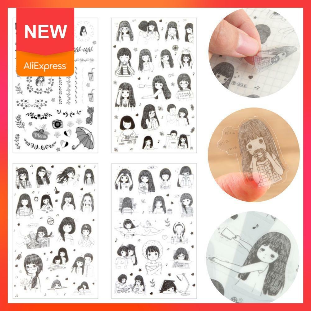 6 hojas DIY Kawaii pegatinas de flores de PVC para niñas álbum de fotos diario pegatinas de papelería álbum diario de vida para decoración Q3L0