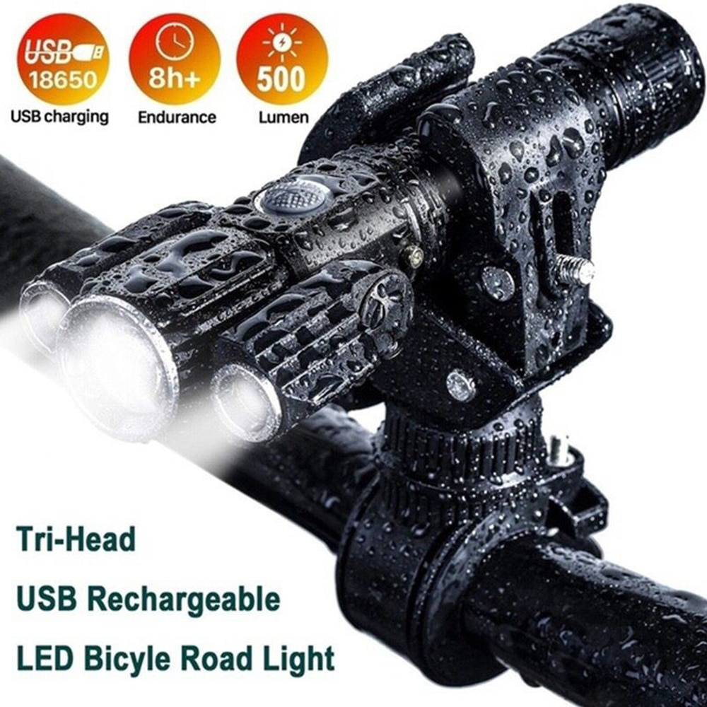 2021 New High Power Led Bicycle Flashlights 1000 Lumen USB Rechargeable 18650 Battery IPX6 Waterproof 4 Mode Powerful Torch