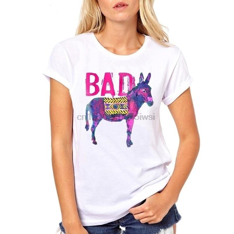 Hot sole Wotercolor Bod donkey diseño camiseta mujeres foshion impresión colorida o-cuello Camiseta de manga corta Camiseta femme tops tee