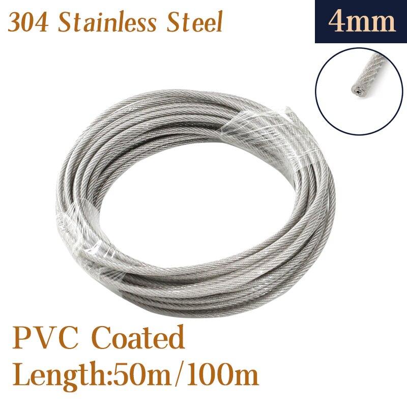 Cuerda de alambre recubierta de pvc de acero inoxidable 100, 50M/304 M,...