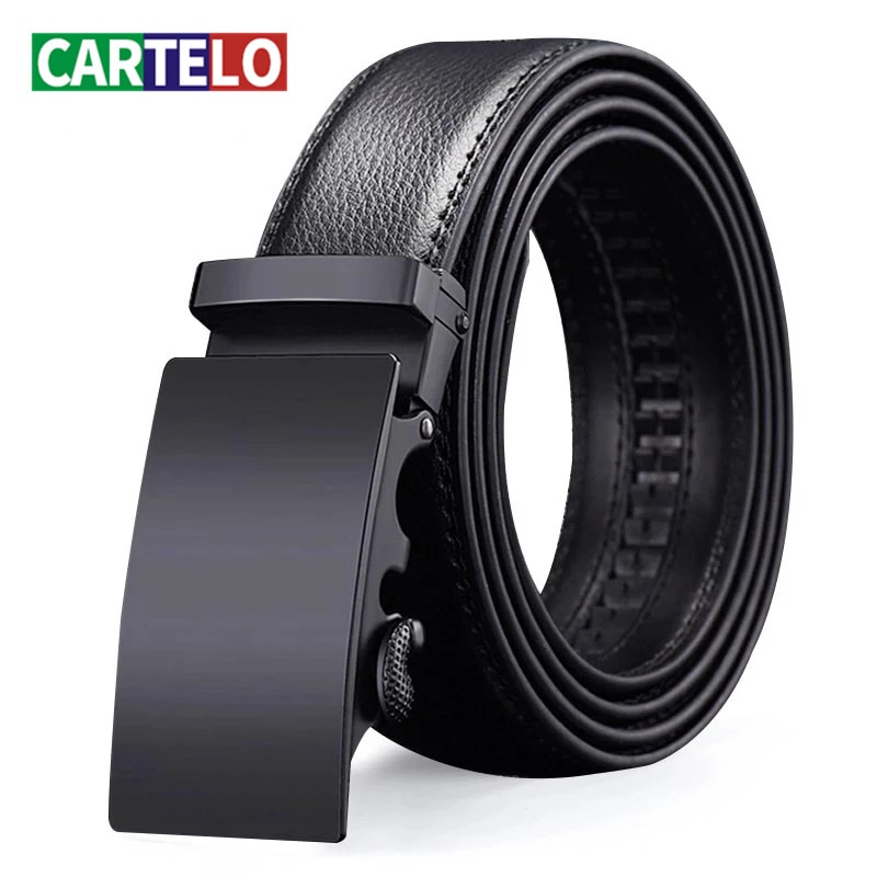 CARTELO For Men Automatic Male Belts Cummerbunds Leather Belt Men dropshipping Black Belts Genuine L