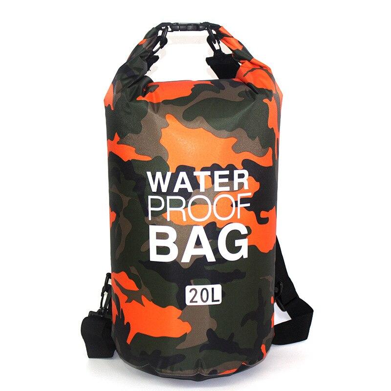 Camouflage Polyester Waterproof Bag One-Shoulder Waterproof Bucket Bag Lightweight Drifting Bag   Waterproof Backpack недорого
