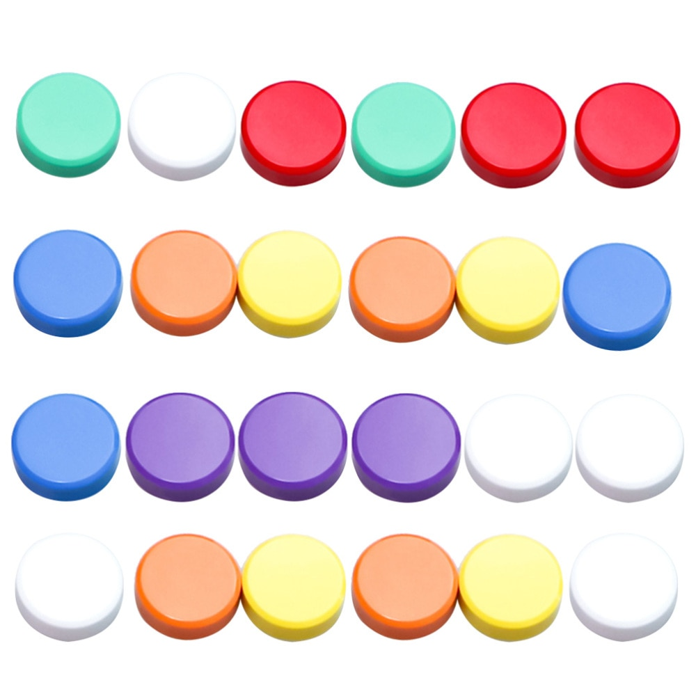 24pcs 3cm Round Colored Magnets Whiteboard Magnetic Blackboard Stickers for Home Office School (Mixed Colors)