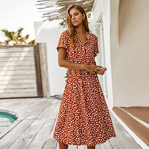 Dalmatian Print Button Front Drawstring Long Dress Boho Vestidoes