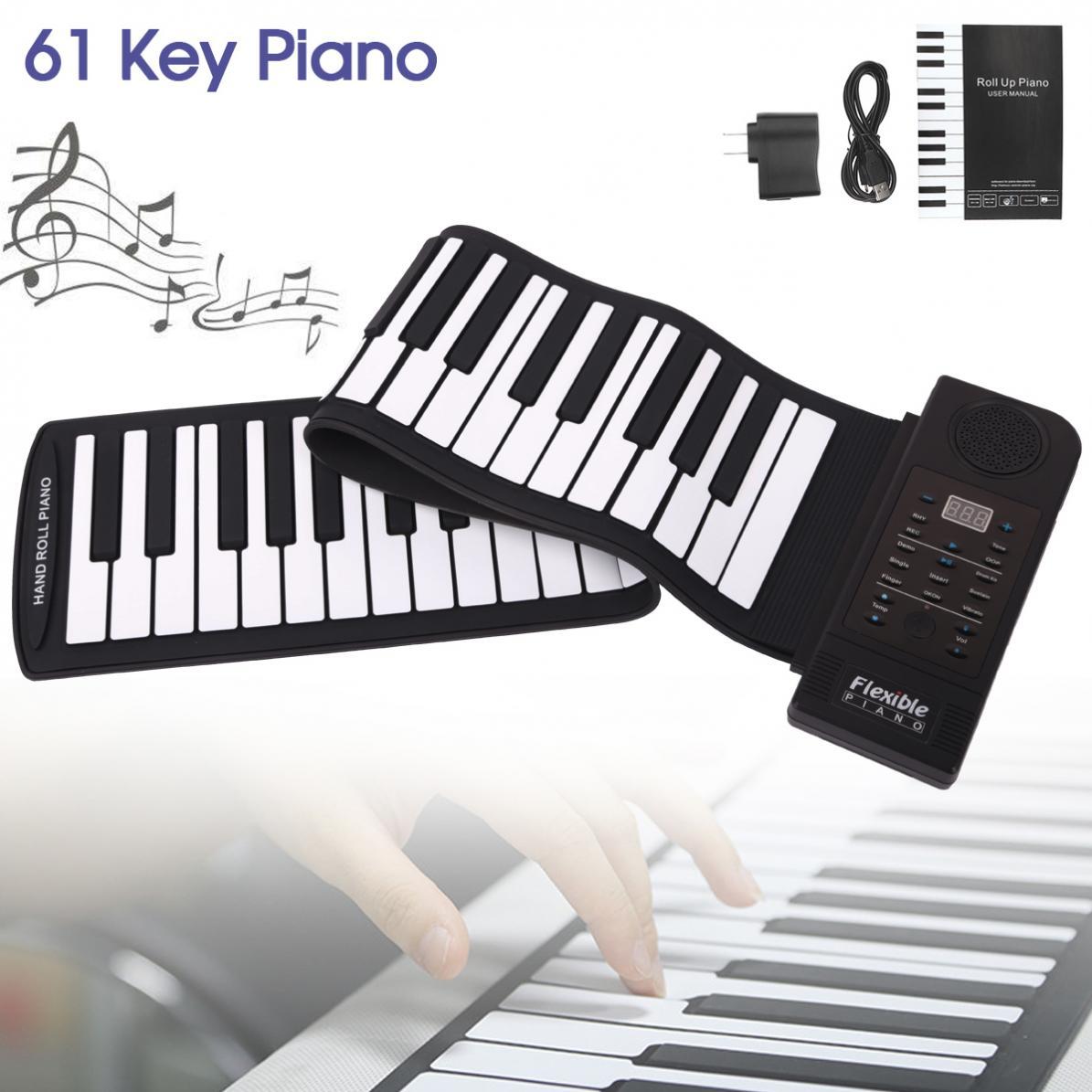 سليد المحمولة 61 مفاتيح نشمر مرنة سيليكون البيانو USB الإلكترونية ميدي لوحة المفاتيح البيانو