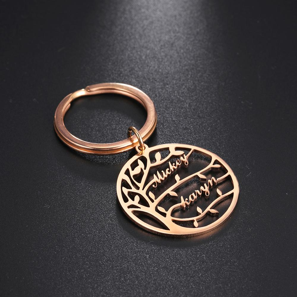Cazador Custom Name Keychain Tree Of Life Family For Women Name Keyring Stainless Steel Jewelry Personalized Family Couple Gift недорого