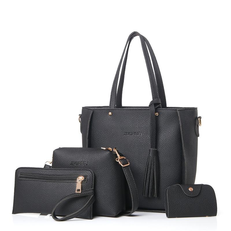 Bolso de mujer con asa superior, bolso de borla para mujer de gran capacidad, bolso de hombro de moda, bolso bandolera de cuero PU para mujer