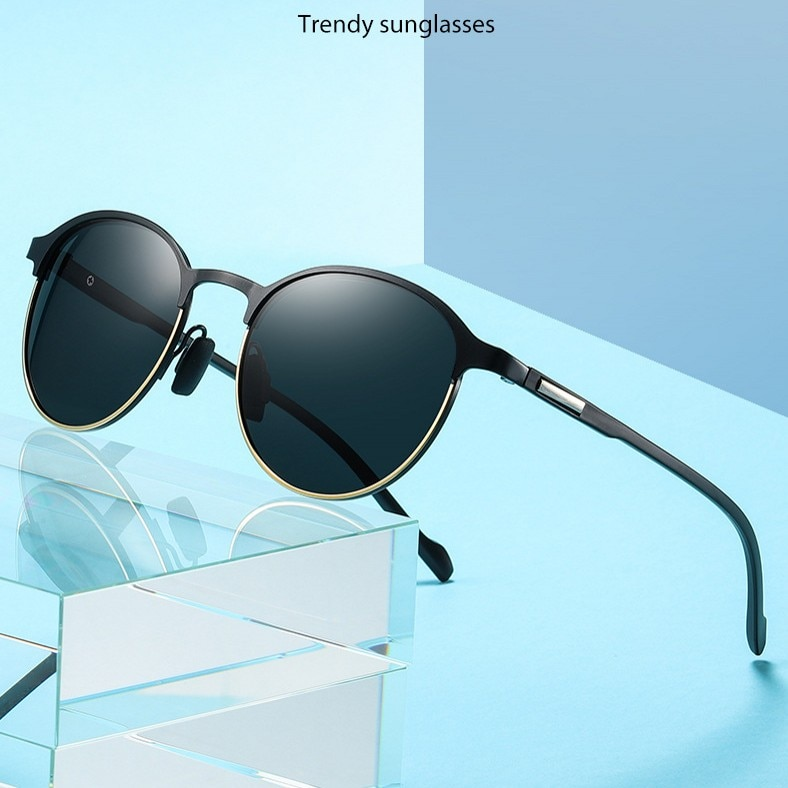 Men Round Polarized Sunglasses Men Women Vintage Rays Brand Designer Semi-Rimless Driving Sun Glasse
