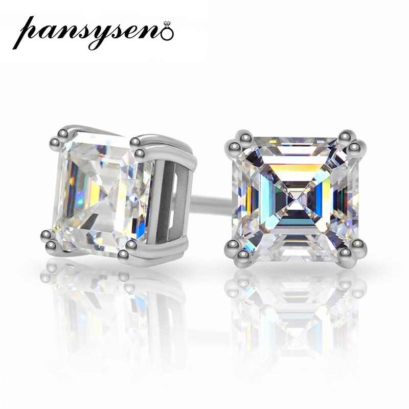 Get PANSYSEN Solid 925 Sterling Silver Asscher Cut D VVS1 0.8ct Real Moissanite Stud Earrings Wedding Engagement Ear Fine Jewelry
