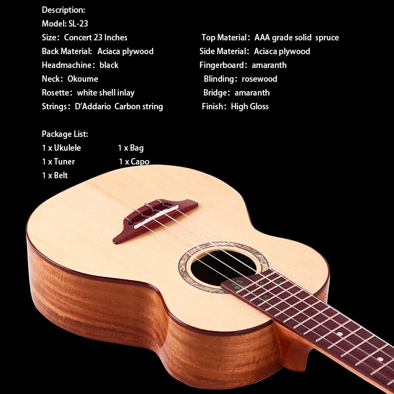 Riobo 23 Inch Solid Ukulele Concert AAA Solid Sitka Spruce With Bag 4 Strings Ukulele Guitar Gloss Finish With Capo/Tuner/Strap enlarge