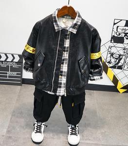 Winter Baby Boys Clothing Set Fashion Child Faux Leather Jacket,Plus Velvet Shirt and Pants 3pcs/Set Tracksuit Kids Clothes Suit