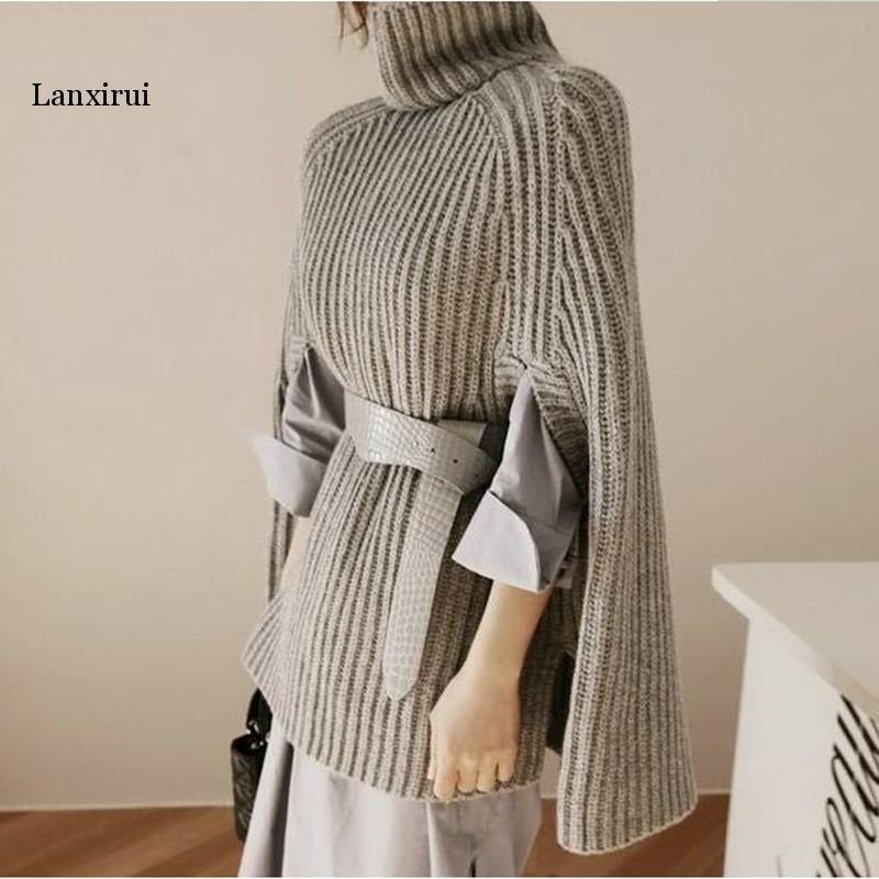 Lanxirui Knitted Turtleneck Cloak Sweater Women Camel Casual Pullover Autumn Winter Streetwear Women Sweaters and Pullovers